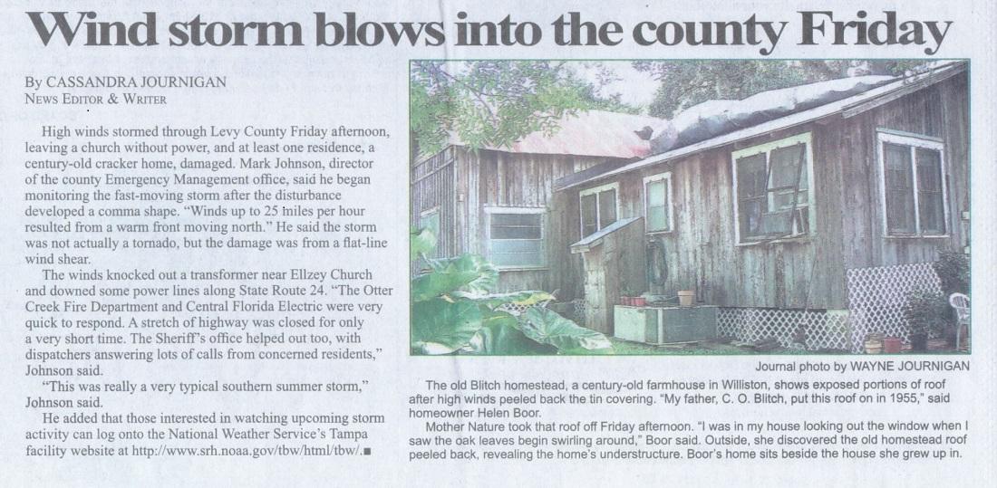 News article illustration of wind storm damage