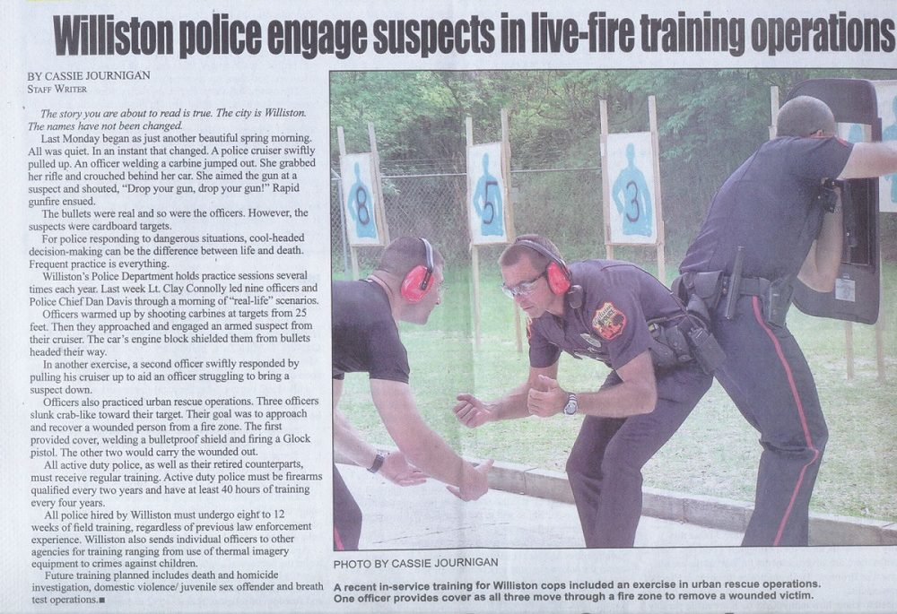Photo link to article on police training exercise
