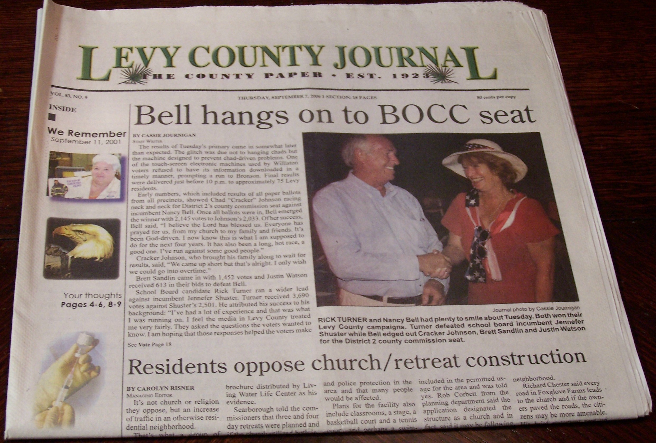Front Page Bell hangs on to BOCC seat