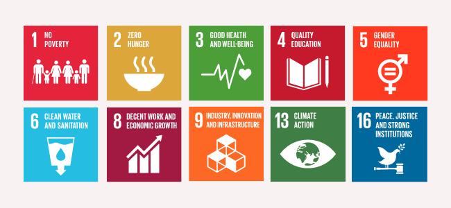 Ten of the 17 UN Sustainable Development Goals
