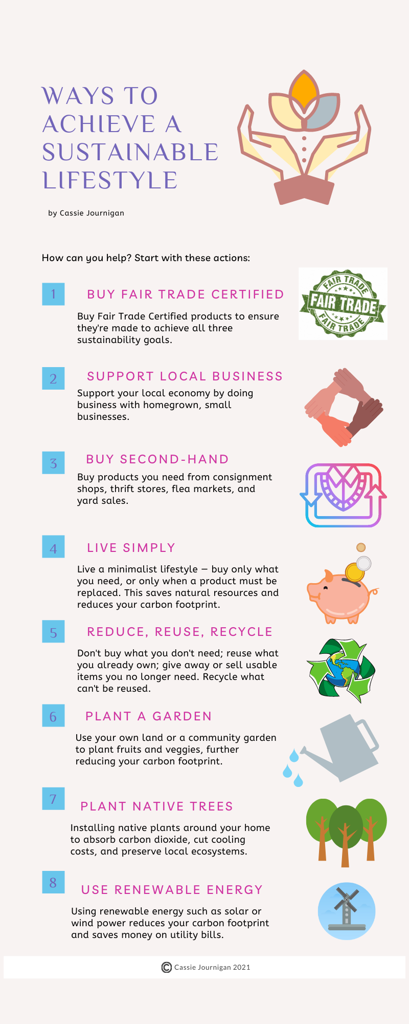 Things we can each do to achieve the three sides of sustainability.