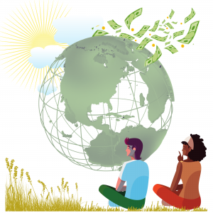 Illustration depicting Planet, People, and Profit
