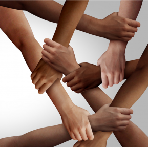 Hands and arms held of people from many races